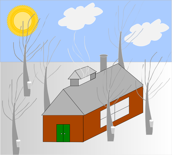 Clipart houses diagram. House trees sun snow
