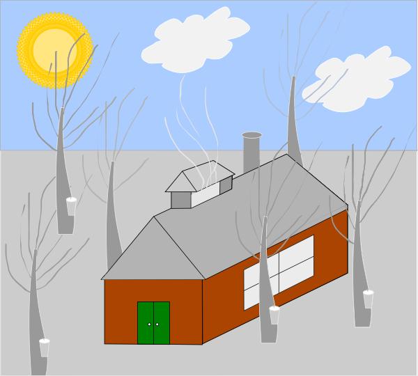 Clipart sun snow. House trees clip art