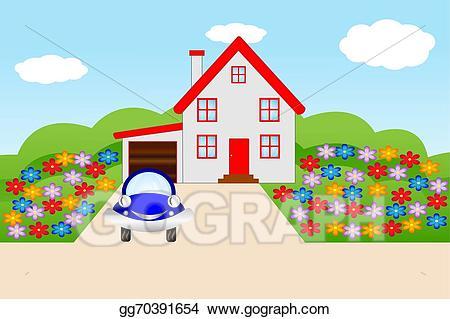 Vector art house with. Garden clipart home garden
