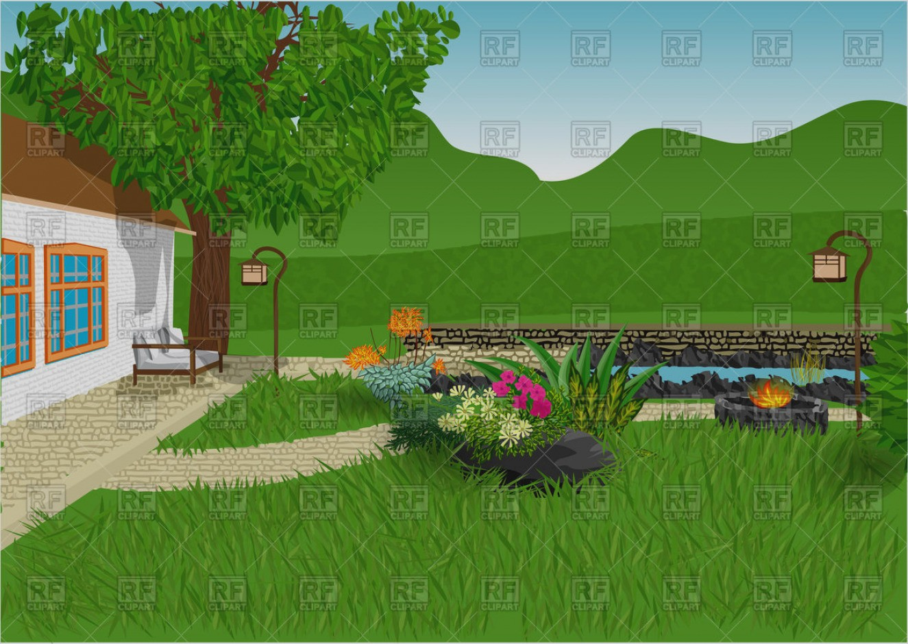 Of house with clip. Houses clipart garden