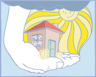 Image in gods hands. Heaven clipart house