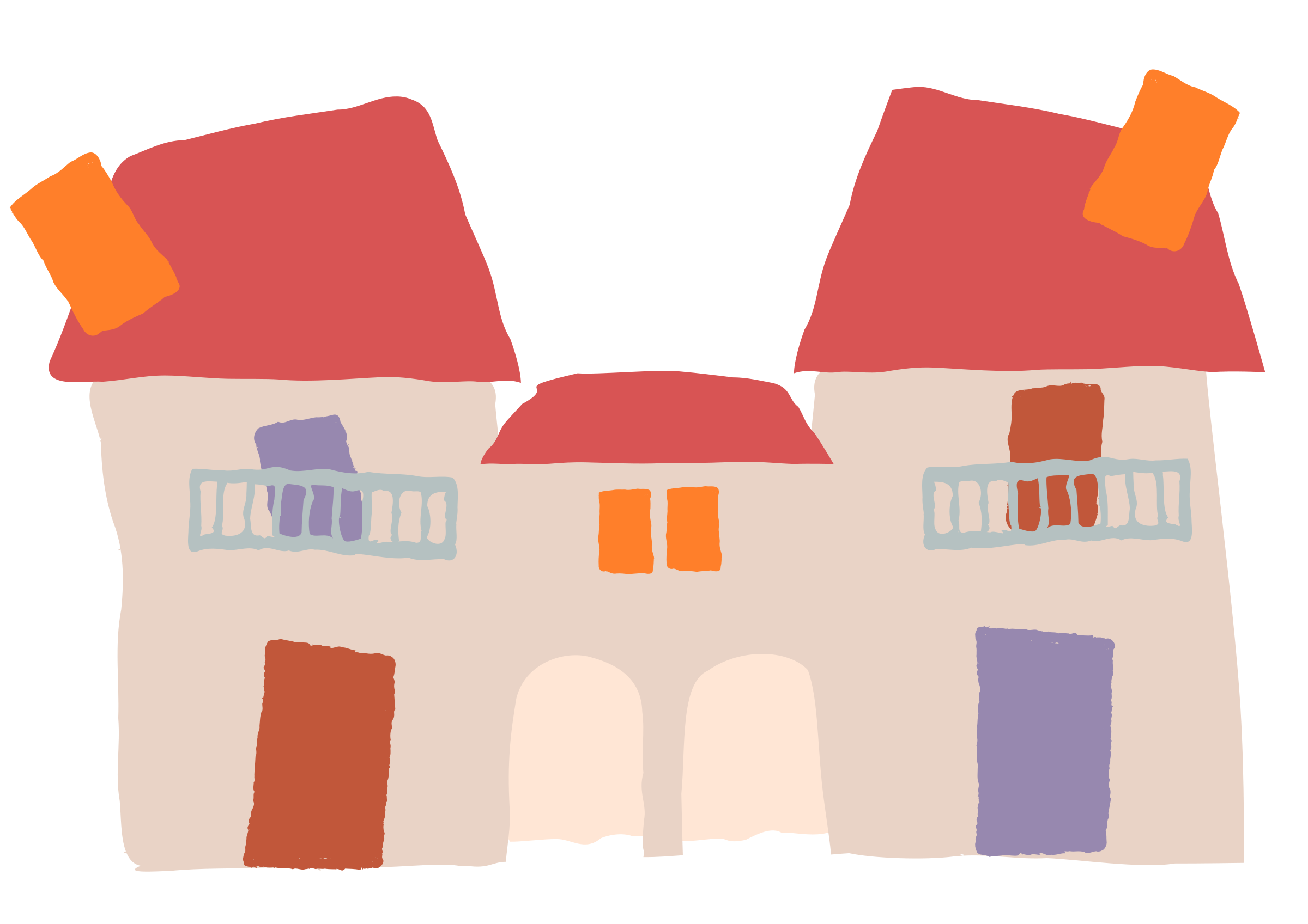 Crooked house big image. Houses clipart grey