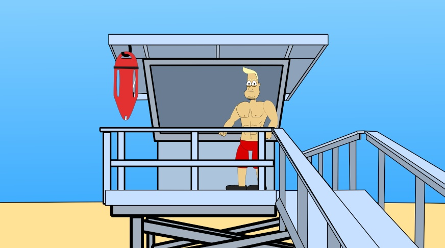 Free beach for anime. Lifeguard clipart lifeguard tower
