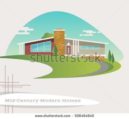 House clipart mid century. Modern style ranch vector