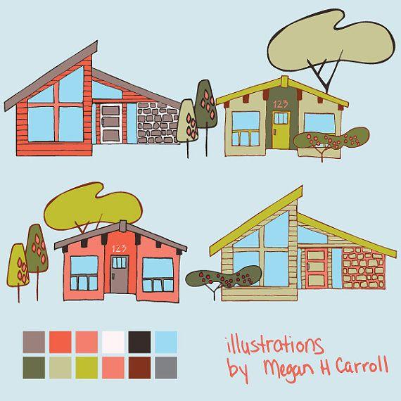House clipart mid century. Modern houses clip art