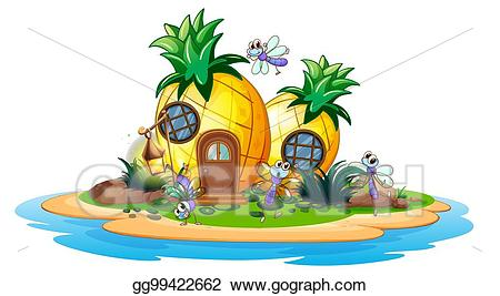 Eps illustration on island. Pineapple clipart house