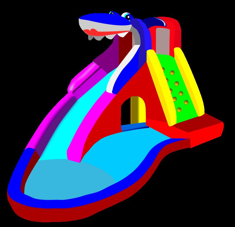 House clipart pool. Waterslide bouncy castle water