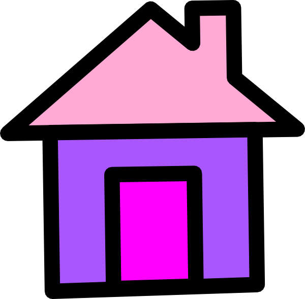 In pink and clip. House clipart purple