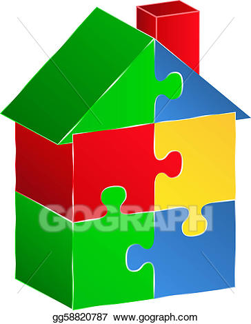 Puzzle clipart house. Eps vector made of