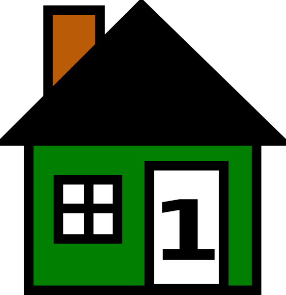 House clip art at. Number 1 clipart green