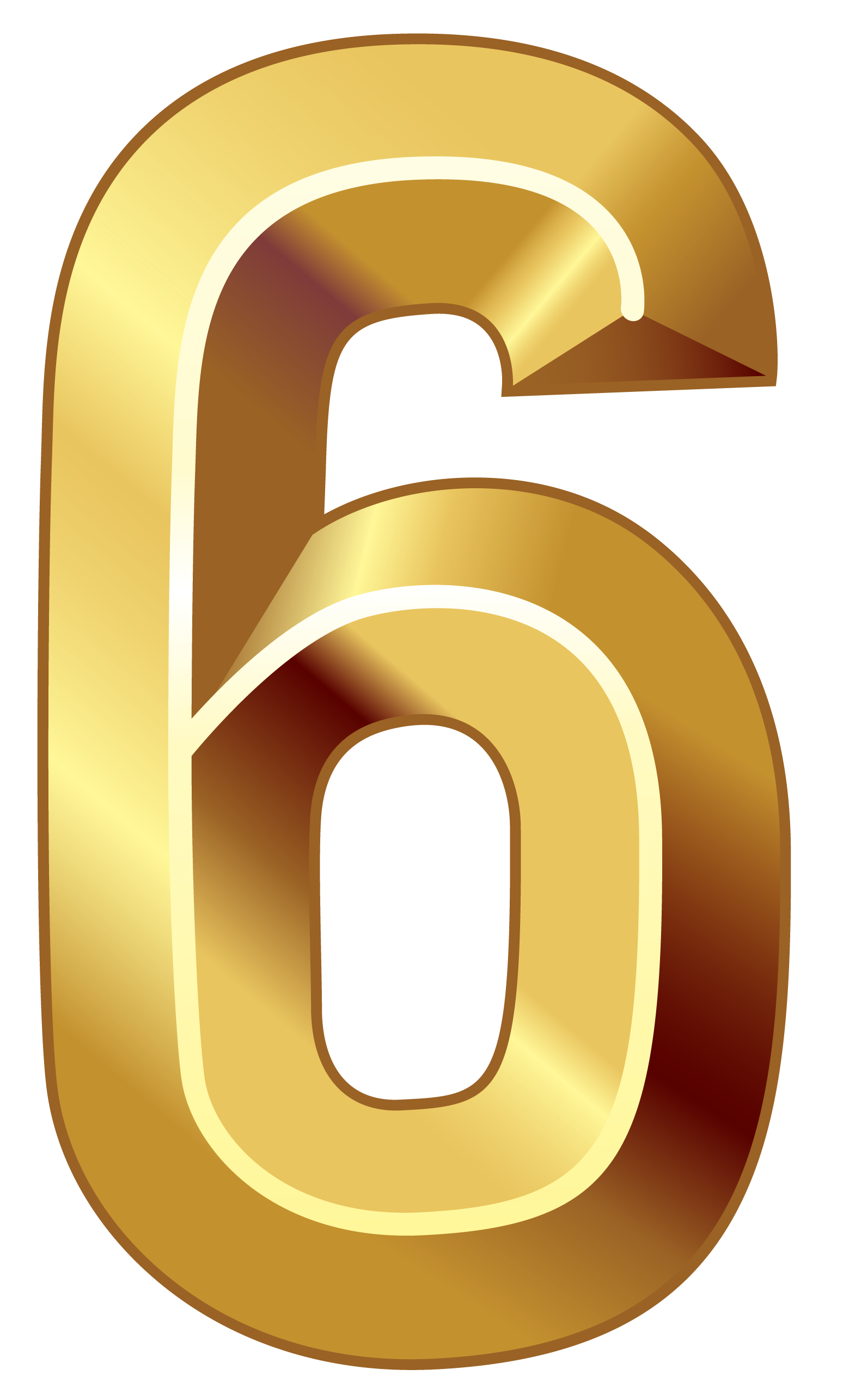 Gold six png image. Number 6 clipart numerical number