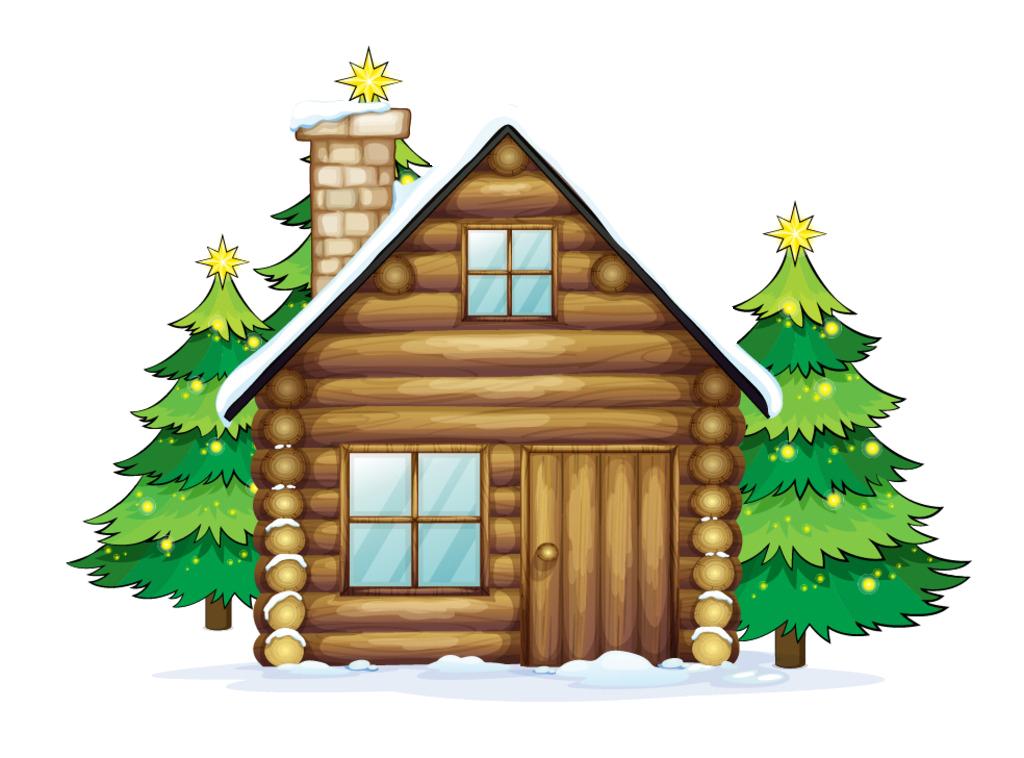 Winter clipart log cabin. Santa claus reindeer christmas