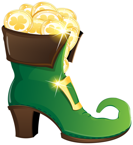 Shoe with gold coins. Clipart pants leprechaun