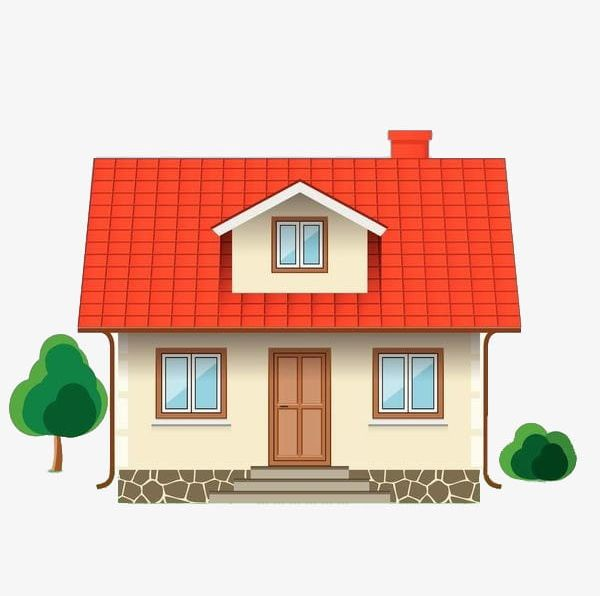 A png cartoon elevation. House clipart small