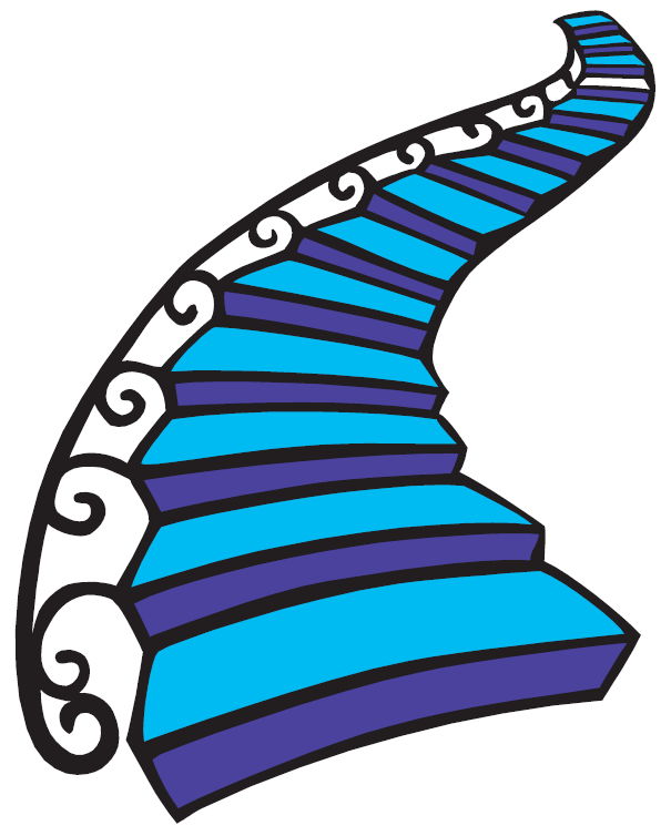 Stairs png falling with. Staircase clipart round stair