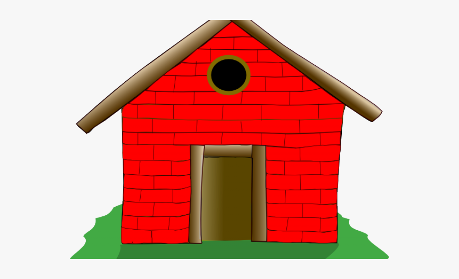 Pigs clipart home. Old house straw brick