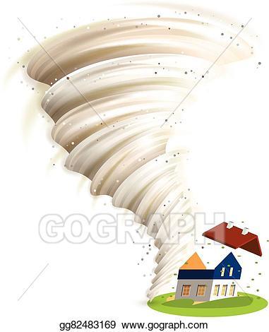 Houses clipart tornado. Vector damages house illustration