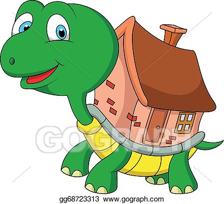 Clipart turtle house. Vector illustration cartoon with