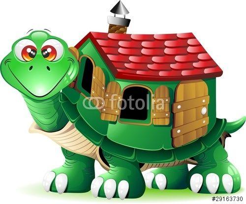 Vector tartaruga con casa. Clipart turtle house