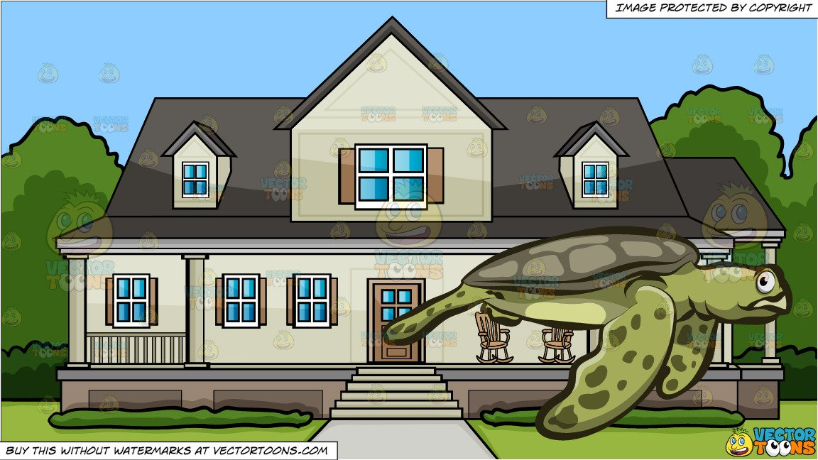 Clipart turtle house. A big sea and