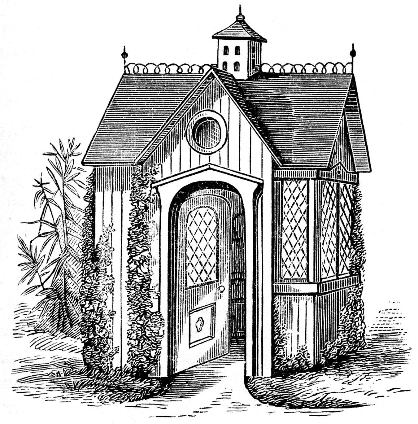Clip art victorian garden. Clipart houses vintage