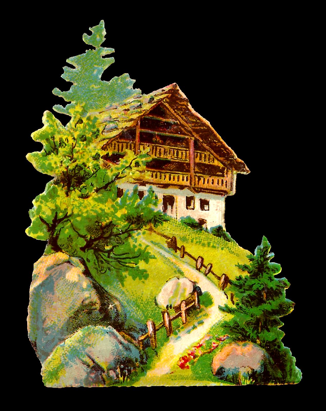 Antique images german vintage. Cottage clipart fairytale cottage