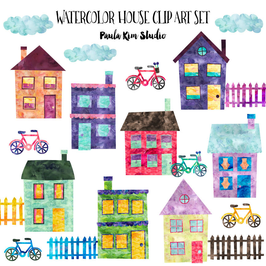 Clip art watercolor with. Neighborhood clipart 4 house