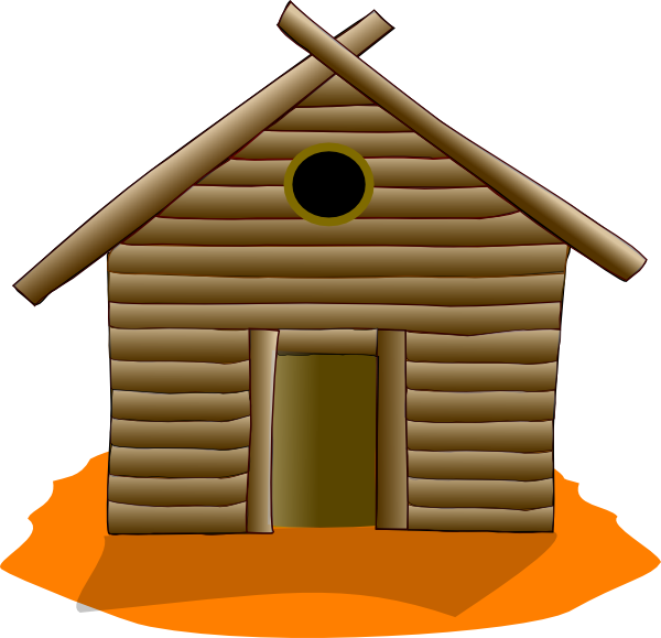 Wooden house orange clip. Logs clipart timber