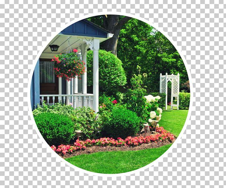 Flower garden landscaping front. Clipart house yard