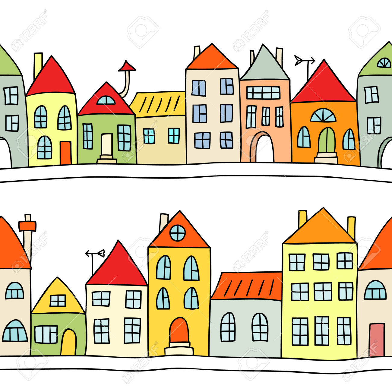 Houses clipart. Row of
