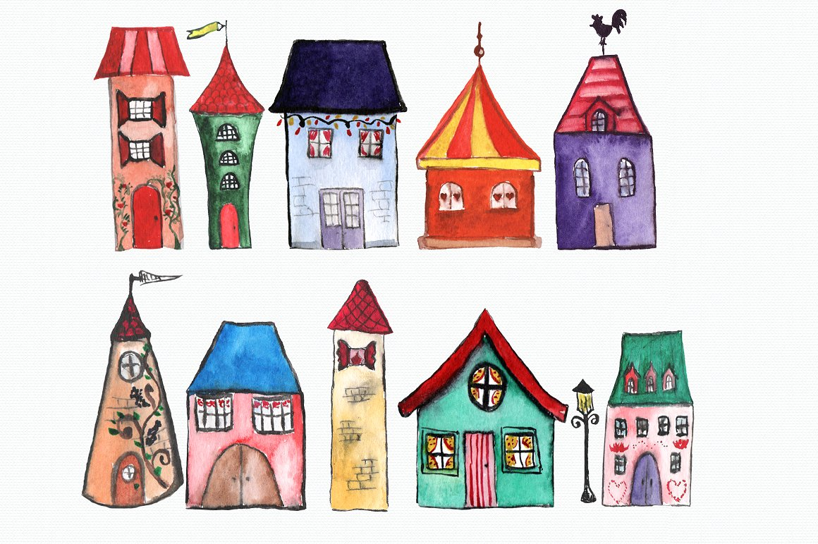 Houses clipart.  watercolor clip art