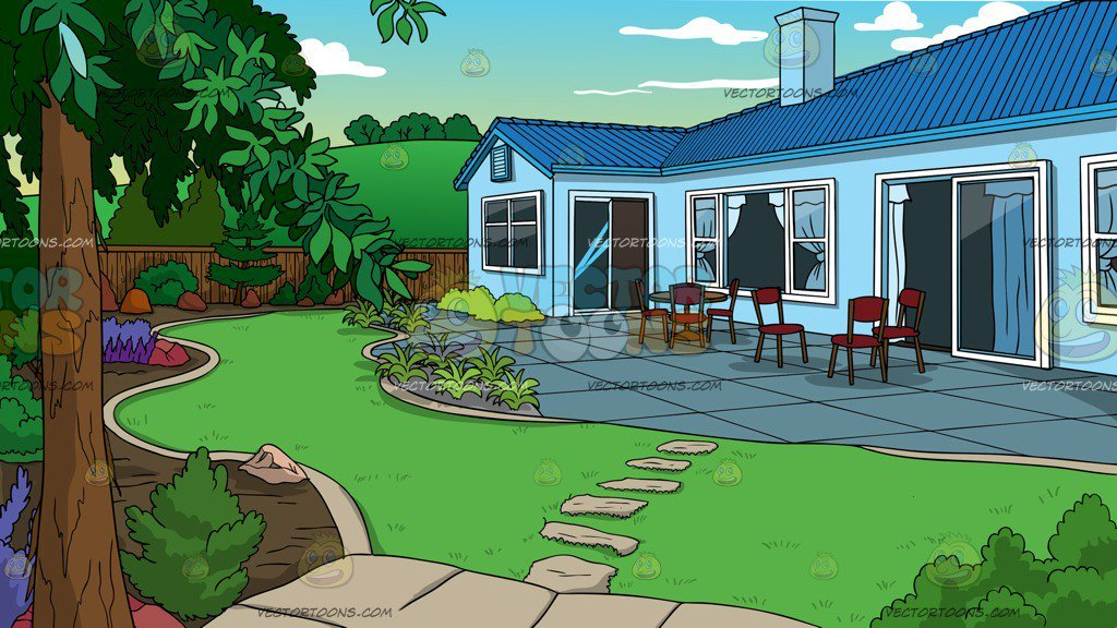 A landscaped of house. Clipart houses backyard