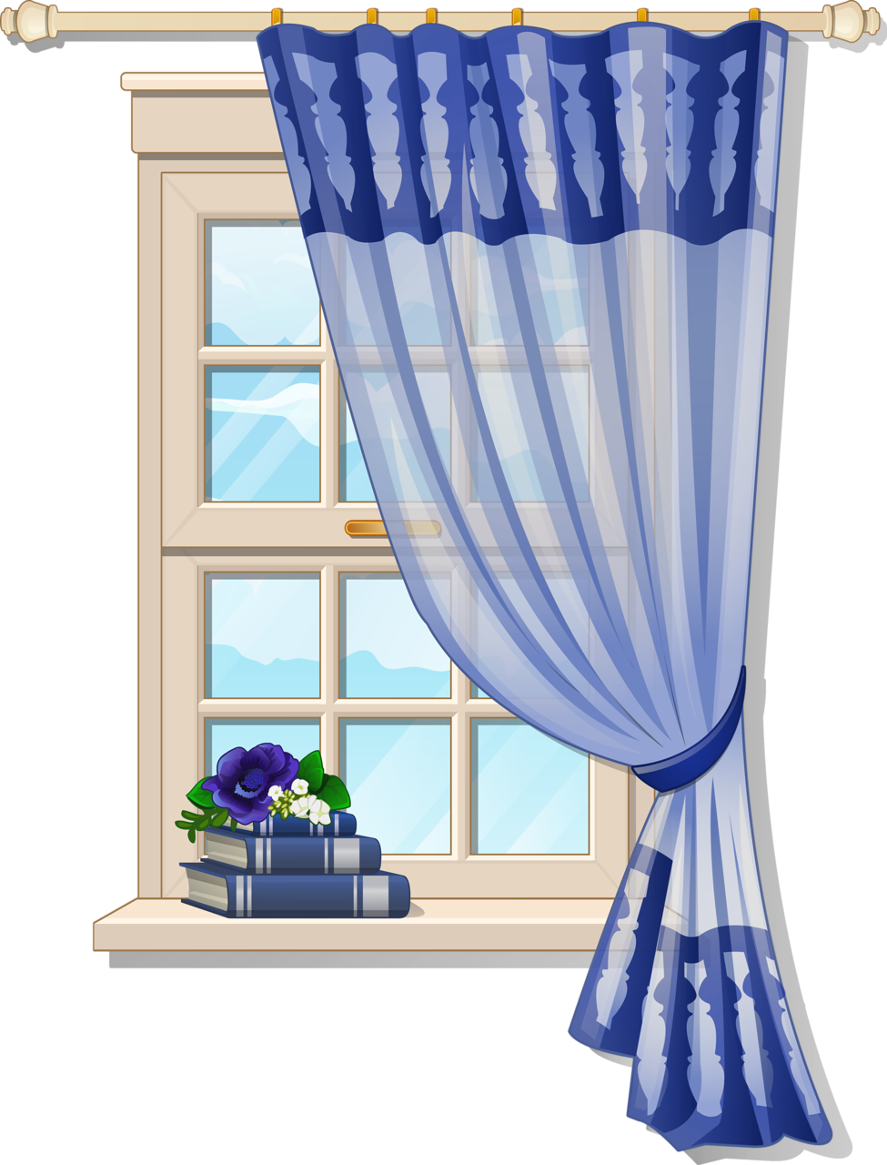 Furniture clipart gingerbread house window. With blue curtons for
