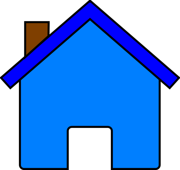 Blue house clip art. Home clipart outline