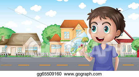 Eps illustration a holding. Clipart houses boy