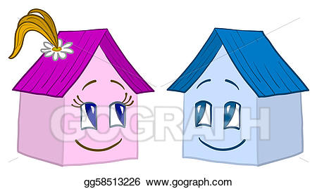 Clipart houses boy. Stock illustration house smilie