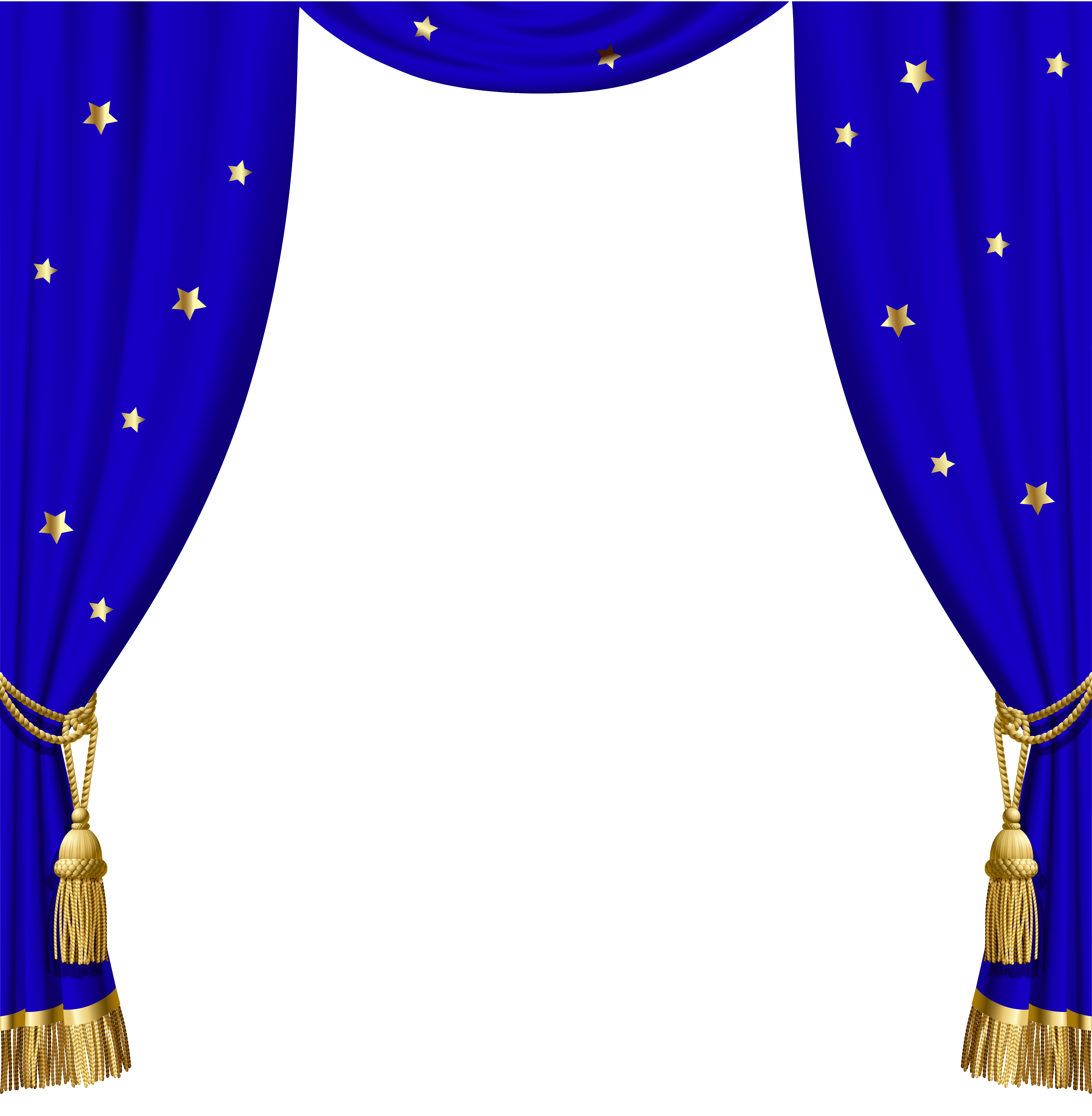 Transparent blue with gold. Curtains clipart mandap