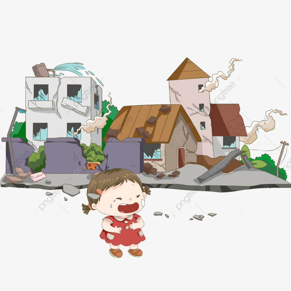 Earthquake clipart collapse. Disaster house hand painted