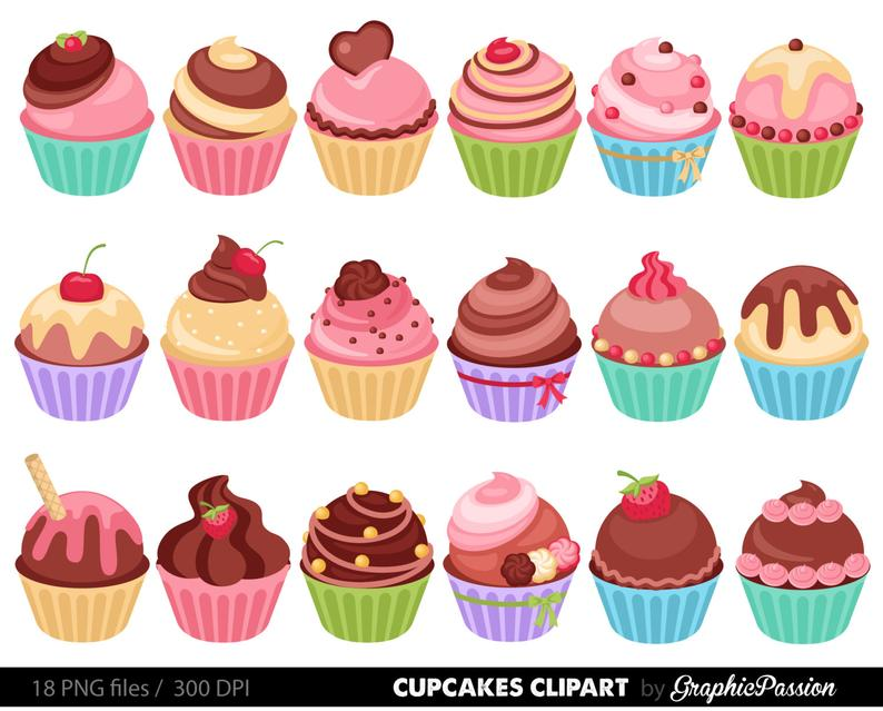 Cupcake clipart collage. Cupcakes digital clip art