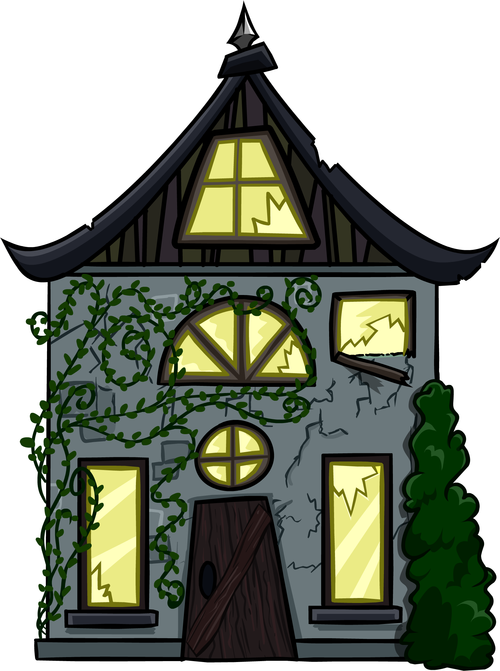 Creepy house png. Cottage cut out club