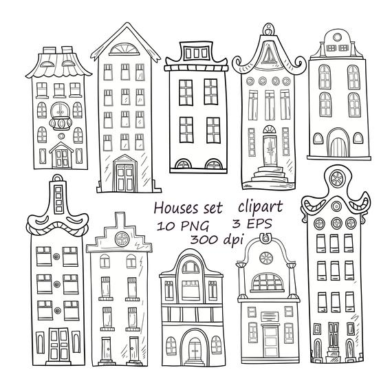 House clipart doodle. Set of hand drawn