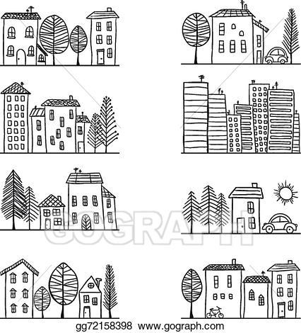 Clipart houses doodle. Vector illustration doodles stock