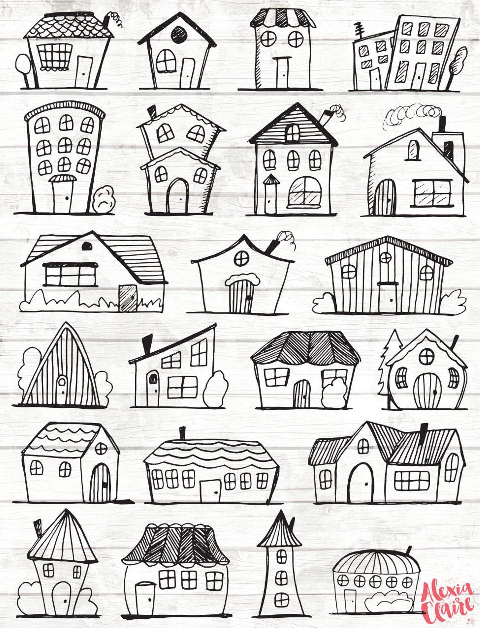 Haus vektor kunst . Houses clipart doodle