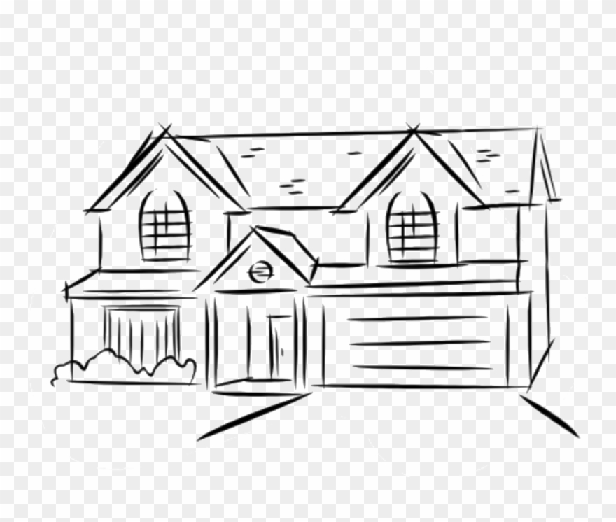 Line drawings of houses. Floor clipart two story house