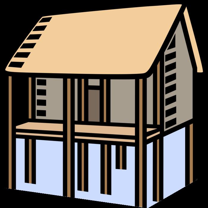 House on stilts to. Flood clipart vector