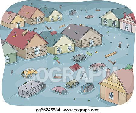 Vector illustration city eps. Hurricane clipart flooded street