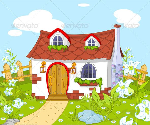 Cute little house buildings. Houses clipart scenery