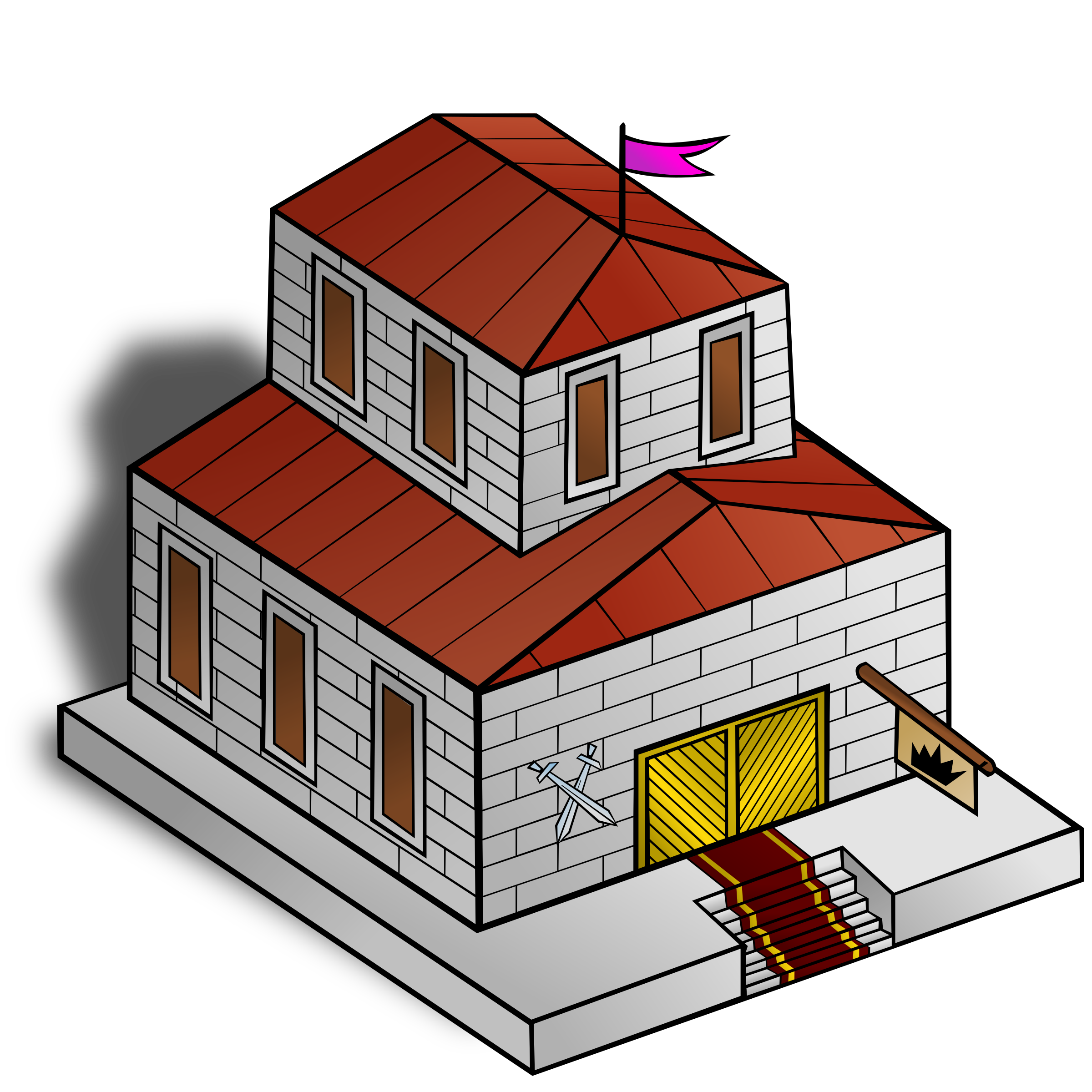Rpg map symbols townhall. Clipart houses hall
