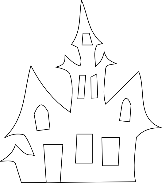 Spooky clipart vector. Scary house silhouette clip