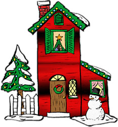 Free christmas street cliparts. Clipart houses lights